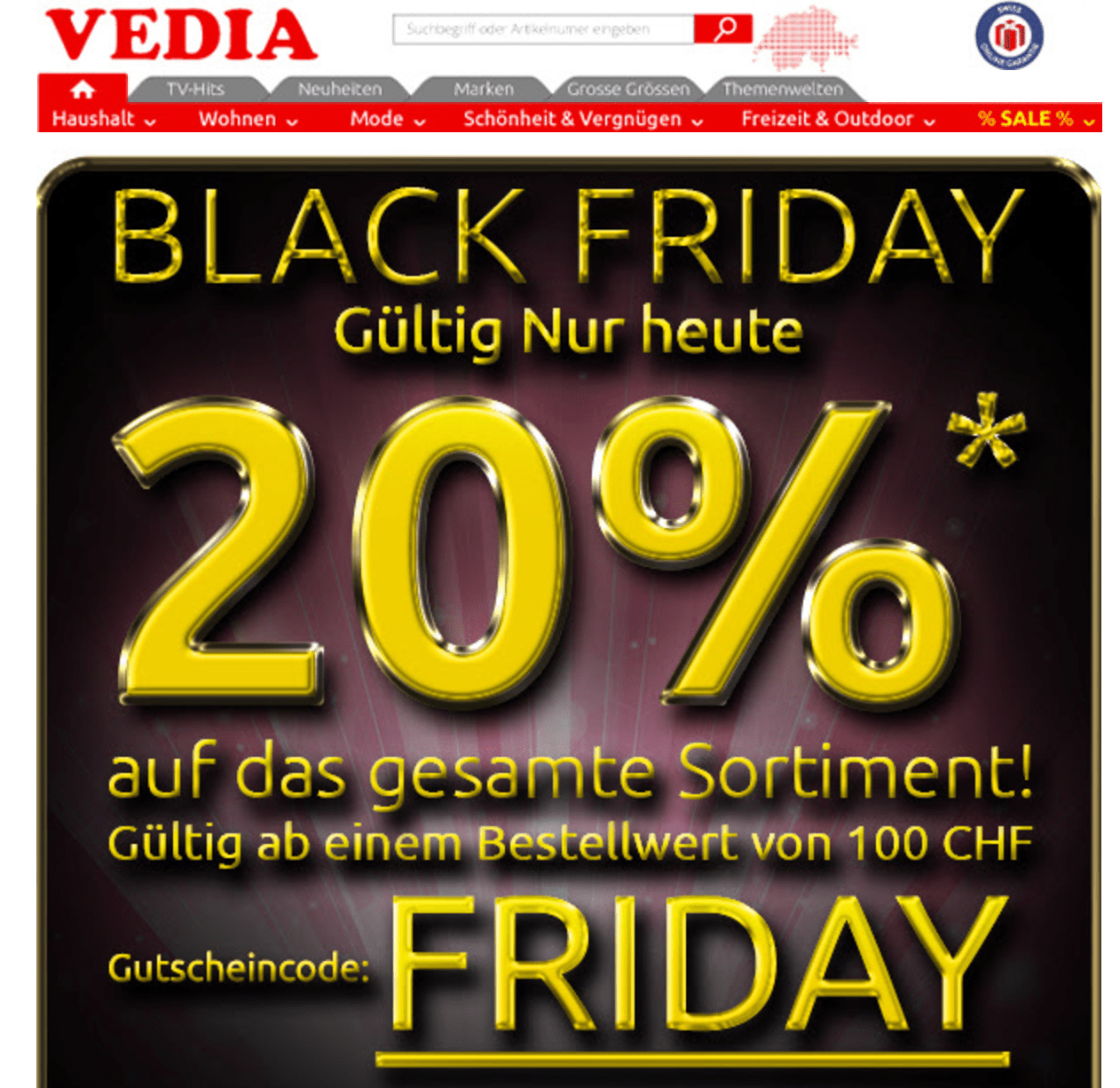 vedia deal bersicht zum black friday 2019 und cyber monday. Black Bedroom Furniture Sets. Home Design Ideas