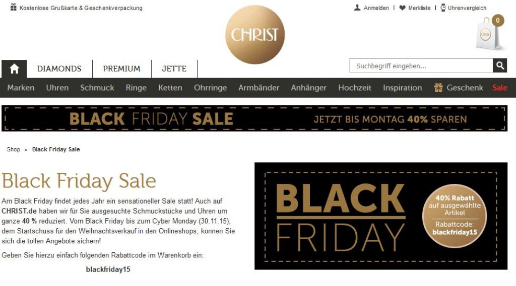 Christ Uhren & Schmuck Black Friday