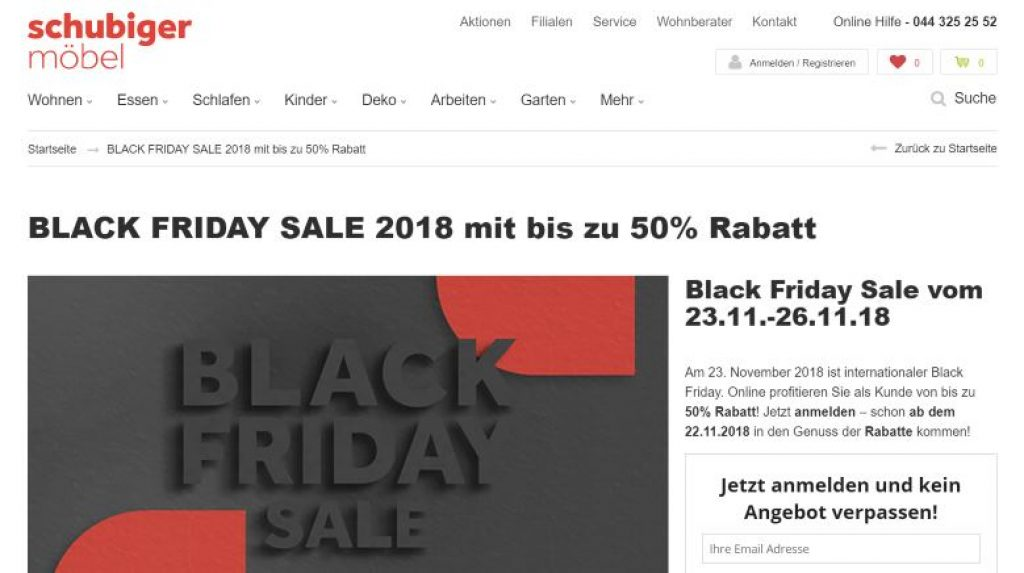 black friday deals bei schubiger m bel in z rich black friday schweiz 2018. Black Bedroom Furniture Sets. Home Design Ideas