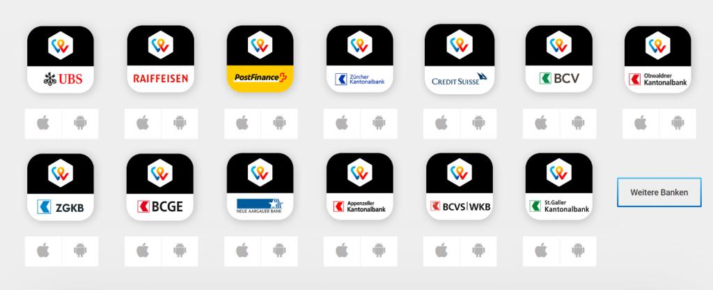Die verschiedenen TWINT Apps