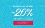20% Rabatt auf Sport und Freizeit bei siroop zum Cyber Monday